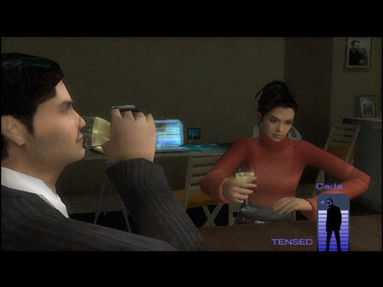 Wine improves Carla's mental health in Indigo Prophecy
