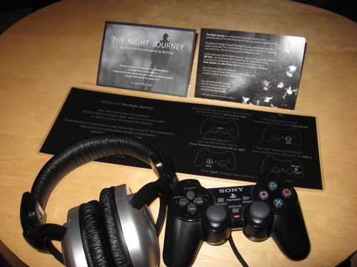 The Night Journey's controller and headphones, as installed at SIGGRAPH 2007