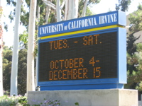 UCI sign, Exhibition dates Oct 4th to Dec 15th